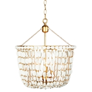 Aidan Gray Home Sea Foam Chandelier - Distressed White and Gold - Wood L584 WOOD CHAN