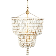 Aidan Gray Home Sea Foam Two Tier Chandelier - Distressed White and Gold - Wood L586 WOOD CHAN