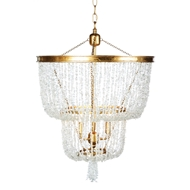 Aidan Gray Home Stone River Crystal Two-Tier Chandelier - Crystal and Gold - Crystal L586 CRYSTAL CHAN