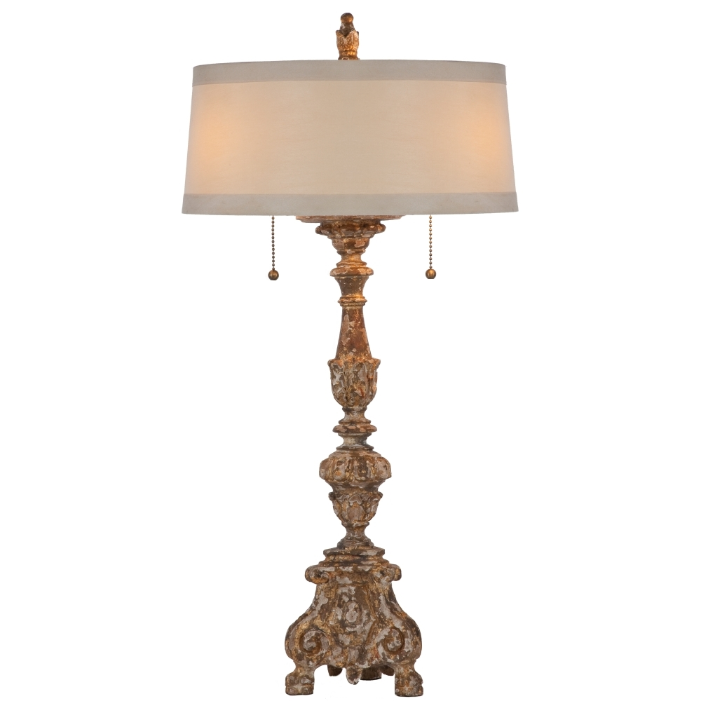 Aidan Gray Home The Grayson Gilded Lamp - Chipped Gold - Wood - Asian Pine L101