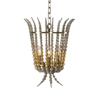 Aidan Gray Home Torch Gold Chandelier - Rustic Gray - Wood L837 CHAN GLD