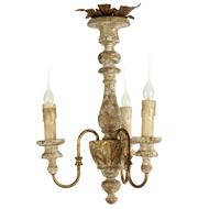 Aidan Gray Home Turin Chandelier - Rustic Cream/Gold - Wood - Asian Pine L123 CHAN