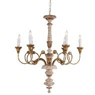 Aidan Gray Lighting Antilles Chandelier - Distressed White and Gold - Wood L139 CHAN
