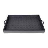 Aidan Gray Home Charlie Tray - Black - Faux Leather D521