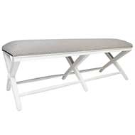 Aidan Gray Home Emma Long Bench, Distressed White and Cement - Disressed White/Cement - Oak CH238L DWCM