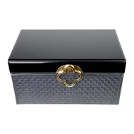 Aidan Gray Home Large Maggie Jewelry Box - Black - Faux Leather D616