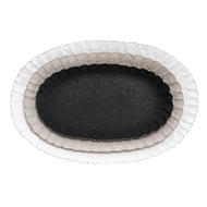 Aidan Gray Home Oval Quilt Tray Set - Black, Gray, White - Metal D515 SET