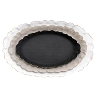 Aidan Gray Home Oval Ripple Tray Set - Black, Gray, White - Metal D512 SET