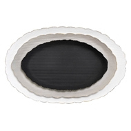 Aidan Gray Home Oval Scalloped Tray Set - Black, Gray, White - Metal D517 SET