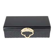 Aidan Gray Home Small Maggie Jewelry Box - Black - Faux Leather D618