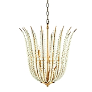 Aidan Gray Lighting Beaded Torch Pendant - White and Gold - Metal L843 PEN HOM