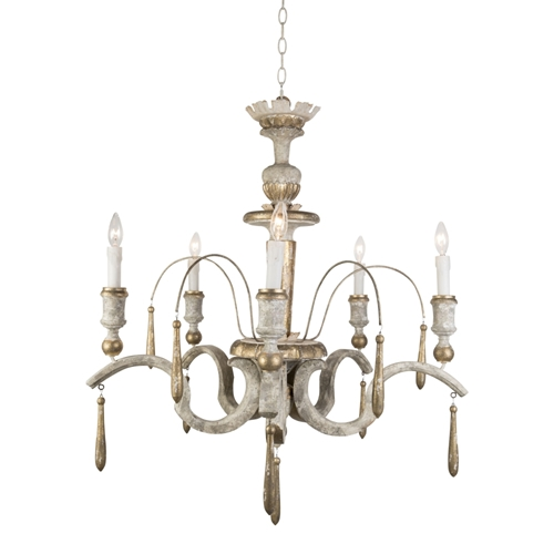 Aidan Gray Lighting Cavalli Chandelier - Antique White with Gold - Birch L323 CHAN