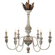 Aidan Gray Lighting Leuven Chandelier - Rustic White & Gold - Wood L471 RW CHAN
