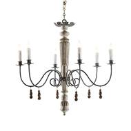 Aidan Gray Lighting Lucca Bleached Chandelier - Bleached Wood - Birch L334 BCH CHAN