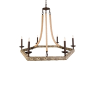 Aidan Gray Lighting Oyster Stick Hex Chandelier - Natural & Rust - Resin L342 CHAN