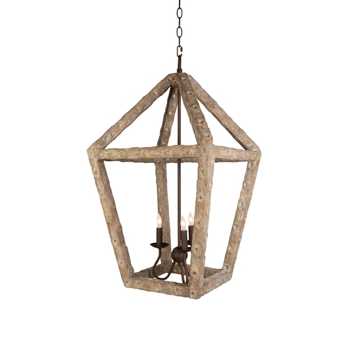 Aidan Gray Lighting Oyster Stick Small Lantern Chandelier - Natural & Rust - Resin L344 CHAN