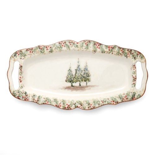 Arte Italica Home Natale Long Rectangular Tray with Handles NAT6838