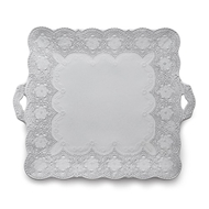 Arte Italica Merletto White Square Platter with Handles