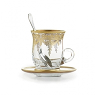 Arte Italica Vetro Gold Cup & Saucer, with Spoon