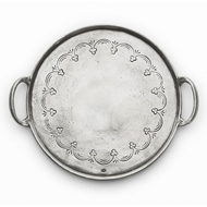Arte Italica Home Vintage Pewter Round Tray With Handles