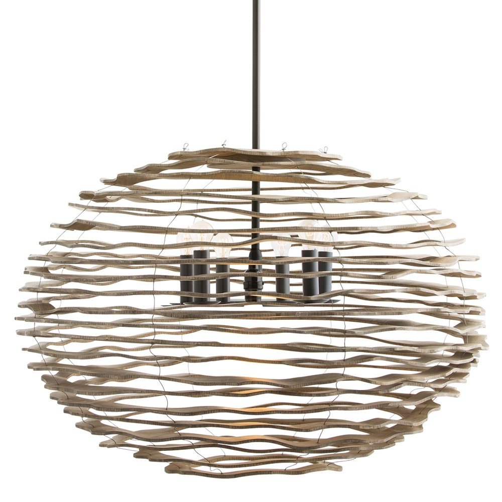 Arteriors Lighting Rook Large Pendant With Natural Finish In Brown