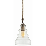 Arteriors Lighting Wesley Pendant With Vintage Glass Finish In Clear