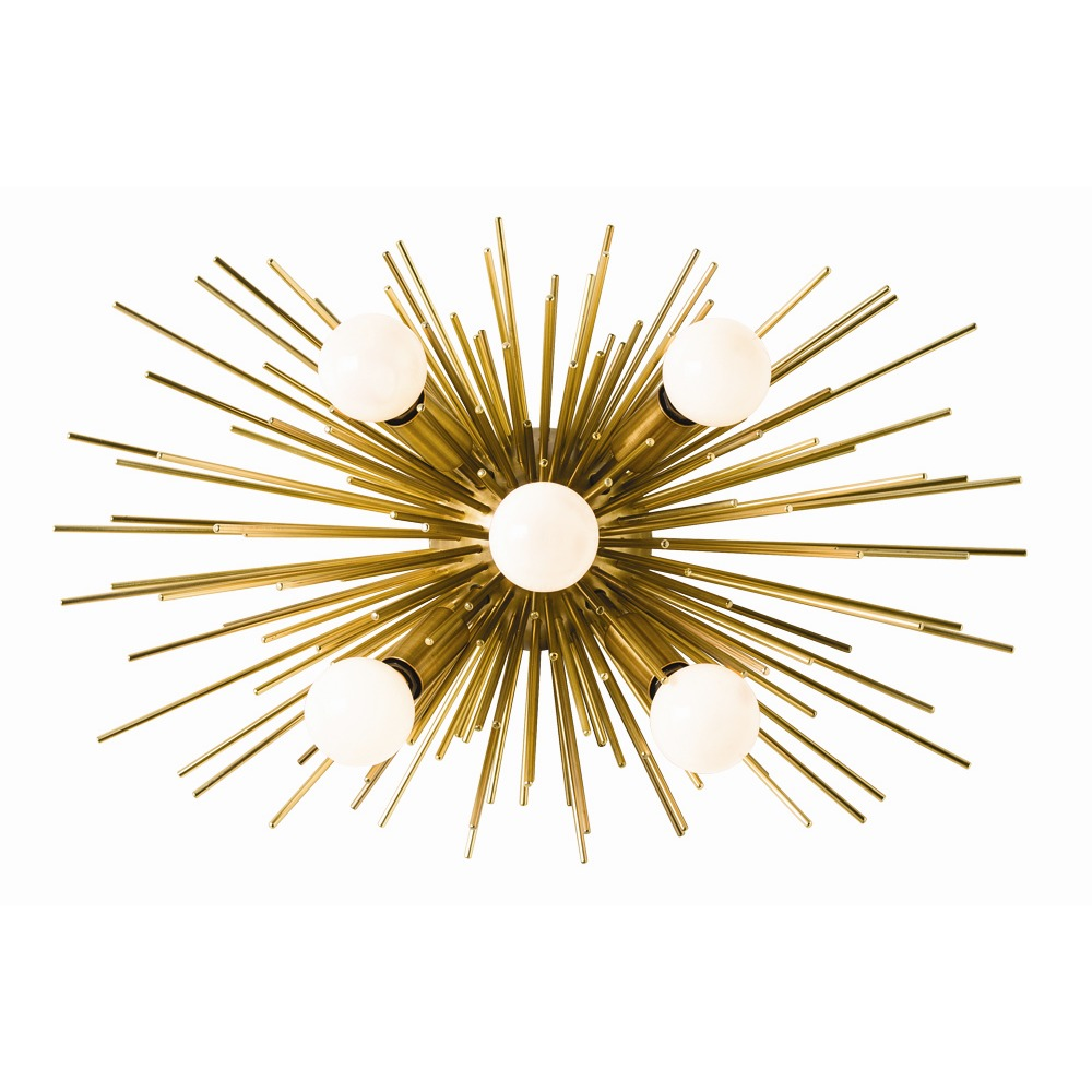 Arteriors Lighting Zanadoo Sconce/Ceiling Mount In Steel With Antique Brass Finish In Yellow