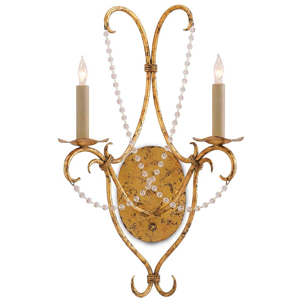 Currey & Company Lighting Crystal Lights Wall Sconce 5000-0027 Wrought Iron