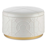 Currey & Company Home Alisa Ottoman, Marshmallow 3000-0084 - Wood/Genuine Leather/Faux Suede