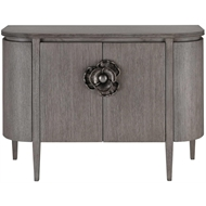 Currey & Company Home Briallen Demi-Lune Cabinet, Winter Gray 3000-0080 - Mindi Wood Solids and Veneers/Cast Aluminum