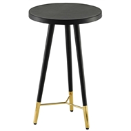 Currey & Company Home Collin Accent Table 4000-0037 - Genuine Leather/Brass/Engineered Wood