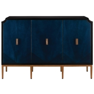 Currey & Company Home Kallista Cabinet 3000-0082 - Mahogany Veneers/Engineered Hardwood/Sycamore Veneer/Iron/Brass