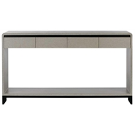 Currey & Company Home Nicolene Console Table 3000-0075 - Lacquered Linen/Mahogany Solids and Veneers