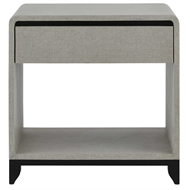 Currey & Company Home Nicolene Nightstand 3000-0074 - Lacquered Linen/Mahogany Solids and Veneers