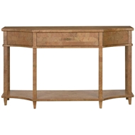 Currey & Company Home Renee Console Table 3000-0066 - Mahogany Solids and Veneers/Natural Cork/Acrylic/Brass
