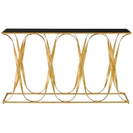 Currey & Company Home Sabine Console Table 4000-0043 - Wrought Iron/Glass