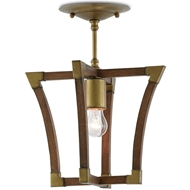 Currey & Company Lighting Bastian Petit Semi-Flush 9000-0266 - Wood/Wrought Iron