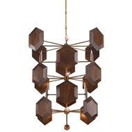 Currey & Company Lighting Honeycomb Chandelier 9000-0224 - Wrought Iron/Walnut