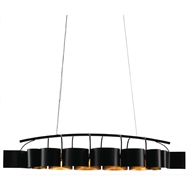 Currey & Company Lighting Marchfield Rectangular Chandelier 9000-0262 - Wrought Iron/Air Craft Cable
