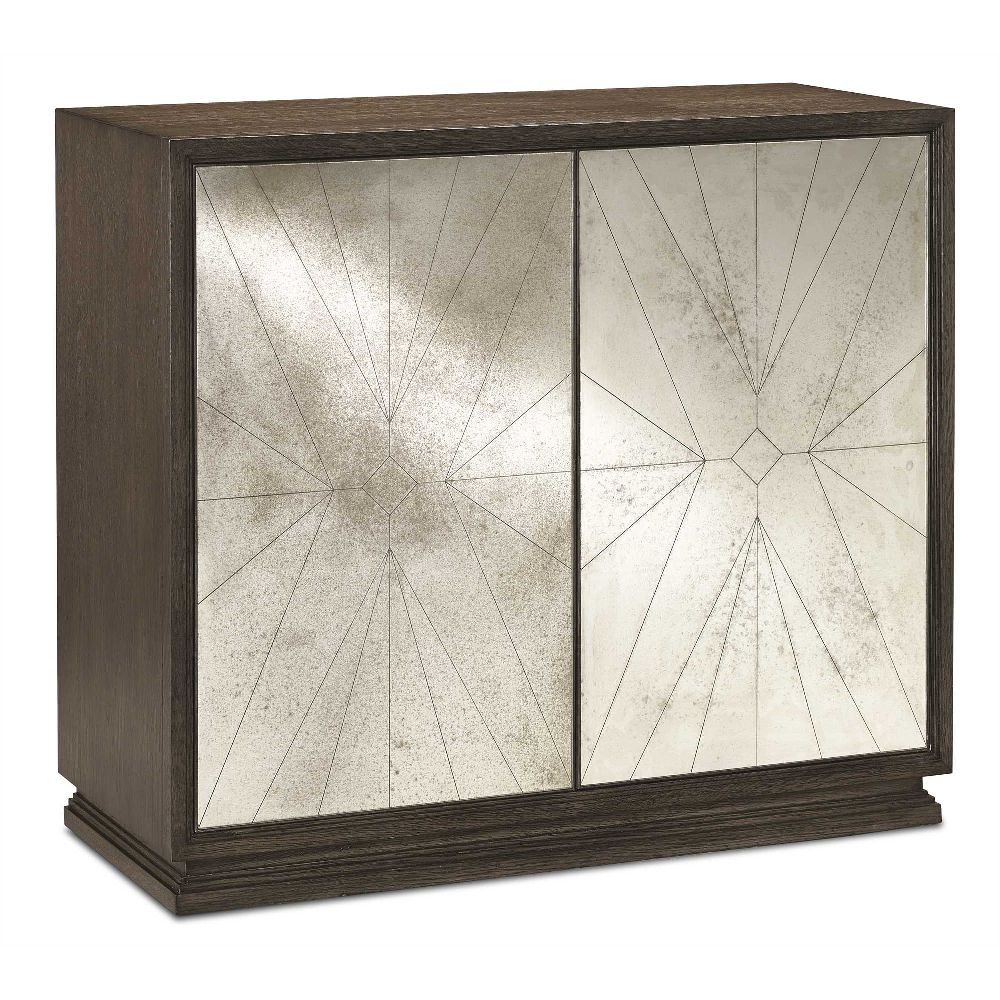 Currey & Company Home Darcy Cabinet 3000-0093 - White Oak Solids & Veneers/Glass