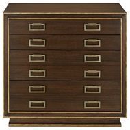 Currey & Company Home Benedict Map Chest 3000-0023 Solid Walnut