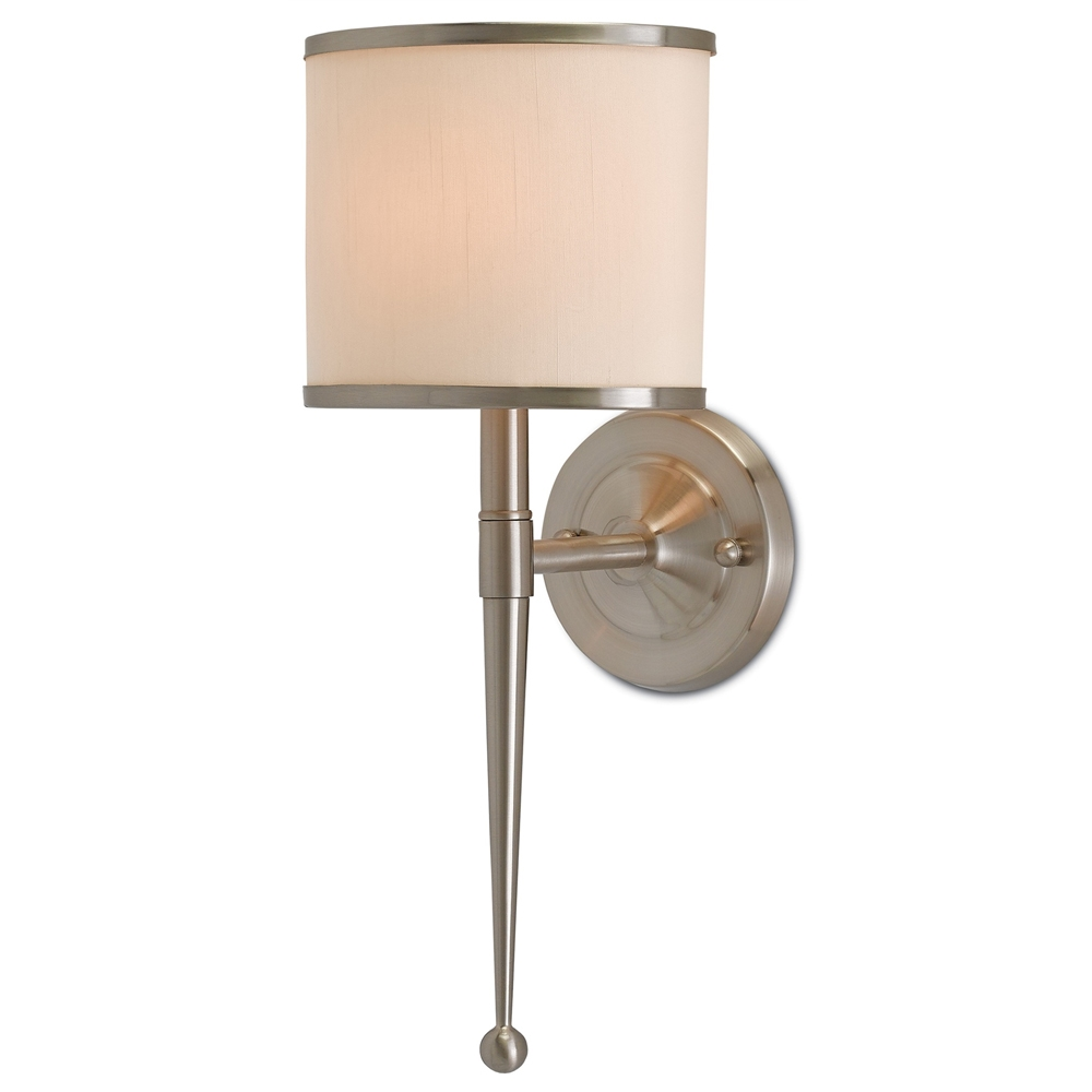 Currey & Company Lighting Primo Wall Sconce W/ Cream Shade 5000-0033 Brass