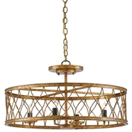 Currey & Company Lighting Crisscross Pendant/Semi-Flush 9000-0050 Wrought Iron
