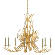 Currey & Company Lighting Longleaf Chandelier 9000-0107 Wrought Iron
