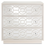 Currey & Company Home Alisa 3 Drawer Chest Marshmallow 3000-0039 Engineered Wood/Mirror Glass/Mahogany/Brass