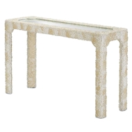 Currey & Company Home Leena Console Table 3000-0048 Solid Wood/Engineered Hardwood/Clam Rose Shells/Mirror Glass