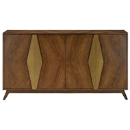 Currey & Company Home Arren Credenza 3000-0052 Solid Wood/Engineered Hardwood/Ash Olive Veneer/Metal-Coated Hardware