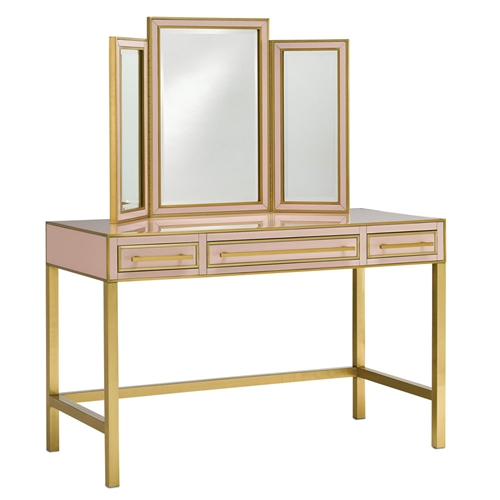 Currey & Company Home Arden Vanity 3000-0054 Reverse Painted Glass/Brass/Solid Wood/Engineered Hardwood/Faux Suede