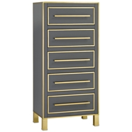 Currey & Company Home Arden Lingerie Chest 3000-0060 Reverse Painted Glass/Brass/Solid Wood/Engineered Hardwood/Faux Suede
