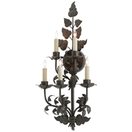 Currey & Company Lighting Willow Wall Sconce 5000-0066 Wrought Iron